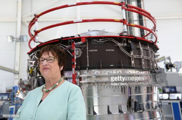 German Economy and Energy Minister Brigitte Zypries visits the assembly line for the RollsRoyce Trent XWB airplane engine to be used in the Airbus...