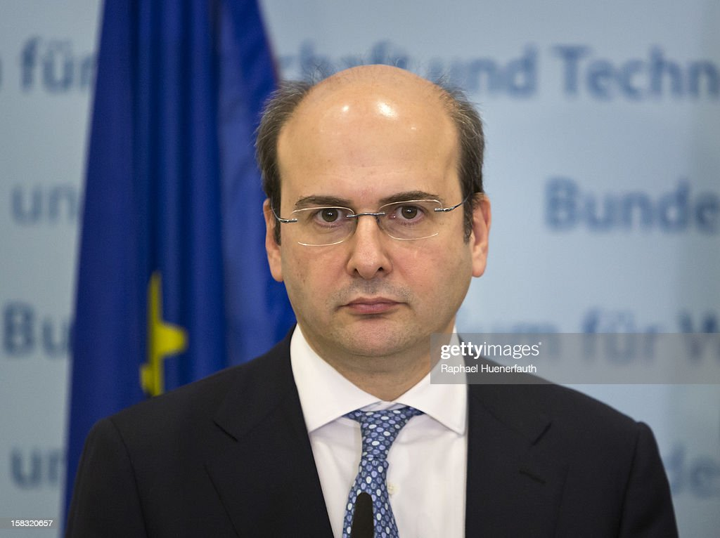 German Economy Minister and Vice Chancellor Philipp Roesler (unseen) and greek development minister Kostis Hatzidakis, give a joint press conference after their talks on December 13, 2012 in Berlin, Germany.