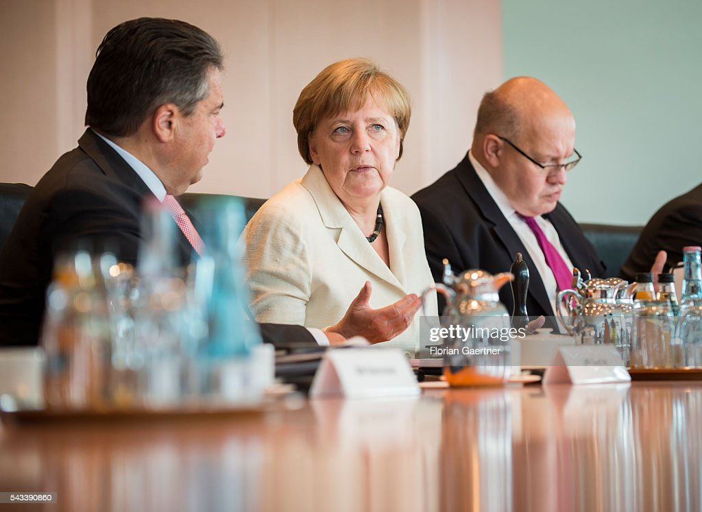 German Economy Minister and Vice Chancellor Sigmar Gabriel, German Chancellor Angela Merkel and Head of the German Chancellery Peter Altmaier during the weekly cabinet meeting at the chancellery (Bundeskanzleramt) on June 28, 2016 in Berlin, Germany.