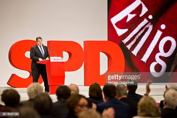German Economy Minister and Vice Chancellor Sigmar Gabriel holds a speech at SPD party convention on December 11 2015 in Berlin Germany