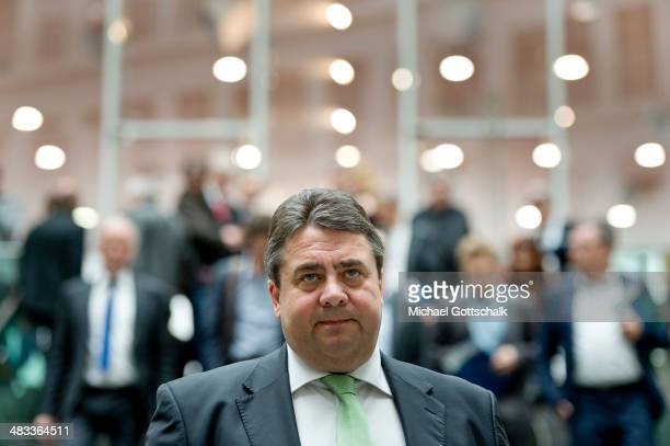 German Economy Minister and Vice Chancellor Sigmar Gabriel leaves a press conference on April 08 2014 in Berlin Germany Gabriel informs the media...