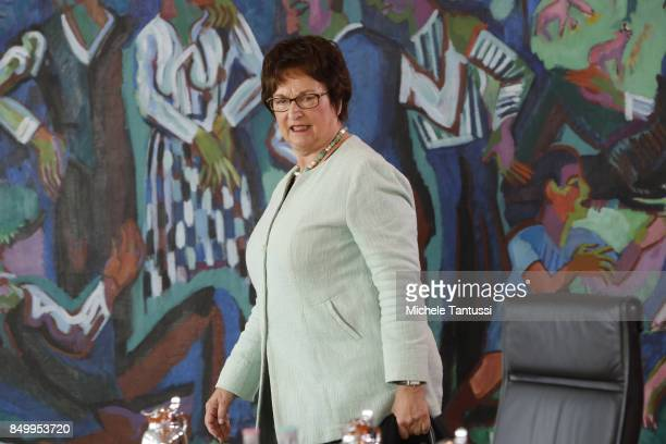 German economy minister Brigitte Zypries arrives for the last weekly government cabinet meeting before German federal elections on September 20 2017...