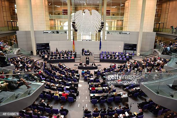 German economy minister Sigmar Gabriel speaks at the Bundestag the German lower house of parliament in Berlin on July 17 2015 German lawmakers will...