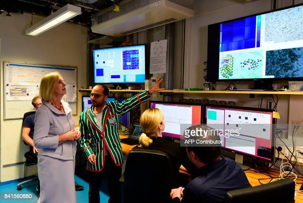 German Education and Research Minister Johanna Wanka visits the XFEL international research facility prior to its official inauguration ceremony on...