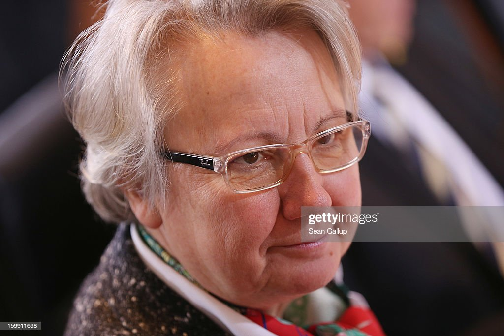 German Education Minister <a gi-track='captionPersonalityLinkClicked' href=/galleries/search?phrase=Annette+Schavan&family=editorial&specificpeople=599358 ng-click='$event.stopPropagation()'>Annette Schavan</a> arrives for the weekly German government cabinet meeting the day after the University of Dusseldorf announced it had begun proceedings to withdraw Schavan's doctoral title on January 23, 2013 in Berlin, Germany. A university commission has been examining Schavan's doctoral thesis, which she wrote 30 years ago as a university student, amidst allegations that she had plagiarized portions of it.