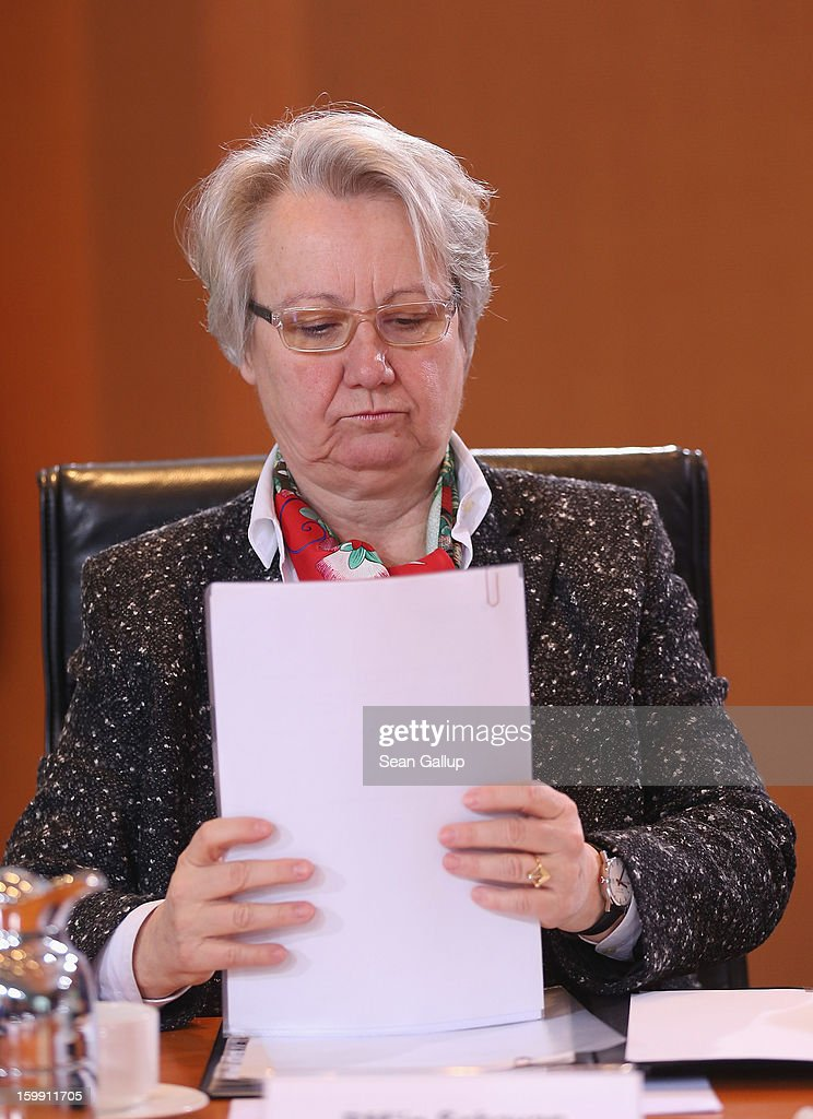 German Education Minister Annette Schavan arrives for the weekly German government cabinet meeting the day after the University of Dusseldorf announced it had begun proceedings to withdraw Schavan's doctoral title on January 23, 2013 in Berlin, Germany. A university commission has been examining Schavan's doctoral thesis, which she wrote 30 years ago as a university student, amidst allegations that she had plagiarized portions of it.