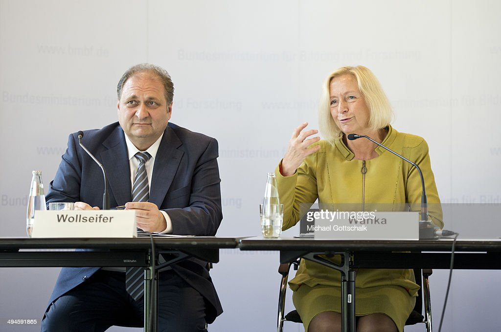German Education Minister <a gi-track='captionPersonalityLinkClicked' href=/galleries/search?phrase=Johanna+Wanka&family=editorial&specificpeople=5626570 ng-click='$event.stopPropagation()'>Johanna Wanka</a> and President of German Central Association of Crafts, Hans Peter Wollseifer, present jobstarter, a programm for college dropouts, on May 30, 2014 in Berlin, Germany.