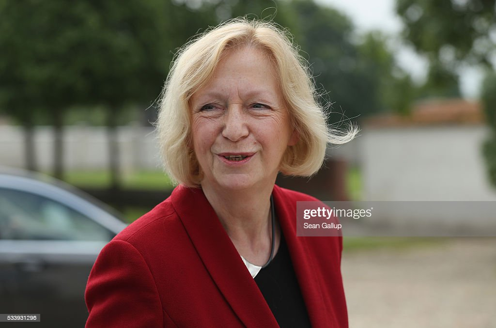German Education Minister <a gi-track='captionPersonalityLinkClicked' href=/galleries/search?phrase=Johanna+Wanka&family=editorial&specificpeople=5626570 ng-click='$event.stopPropagation()'>Johanna Wanka</a> arrives for a meeting of the government cabinet at Schloss Meseberg palace on May 24, 2016 near Gransee, Germany. The government cabinet is meeting at Schloss Meseberg for a two-day retreat.