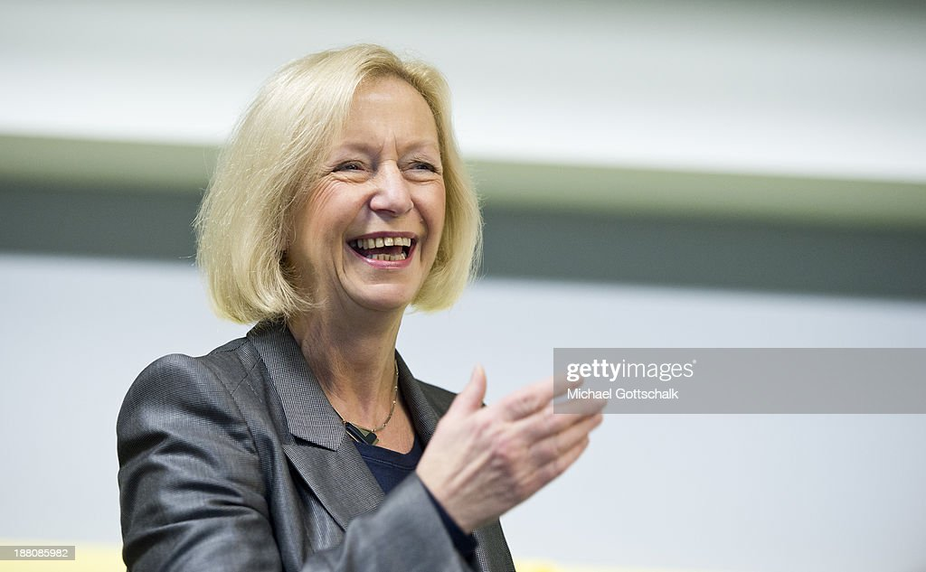 German Education Minister <a gi-track='captionPersonalityLinkClicked' href=/galleries/search?phrase=Johanna+Wanka&family=editorial&specificpeople=5626570 ng-click='$event.stopPropagation()'>Johanna Wanka</a> is seen during the presentation of Project 'Lesestart' in a Libary for Children on November 15, 2013 in Berlin, Germany. The Project offers book packages to parents in 4,500 libaries for Children.