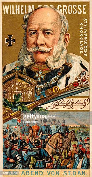 German Emperor Wilhelm I also known as Wilhelm the Great featured on a German trade card published circa 1900