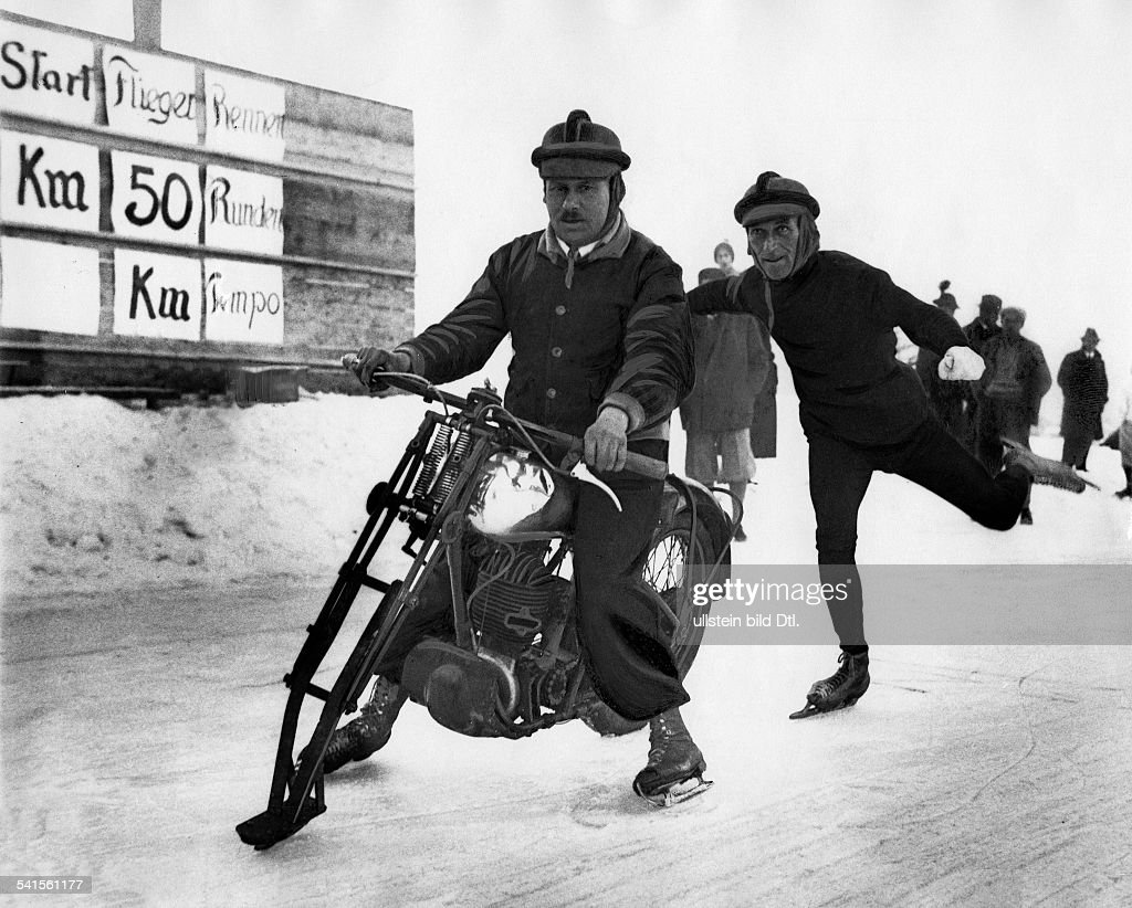 German Empire Bayern Freistaat Ice skating with a tuned and reconstructed motorbike Published by 'Tempo' Vintage property of ullstein bild