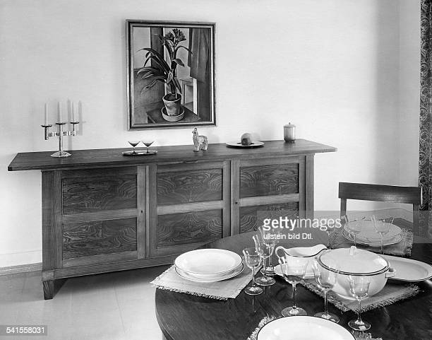 dinning room commode table and chairs made of toned ash wood Published by 'Bazar' 10/1934Vintage property of ullstein bild