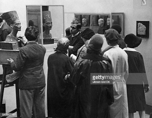 German Empire Free State Prussia Brandenburg Province Berlin Egyptian Museum Farewell to Nefertiti press of people in front of the the bust of the...