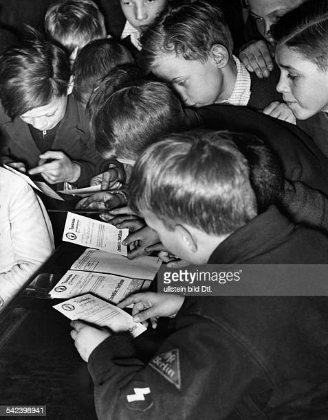 German Empire Gemany Berlin handing out savings bank books to pupils in the 10th Volksschule Photographer Herbert Hoffmann Published in BVZ Vintage...