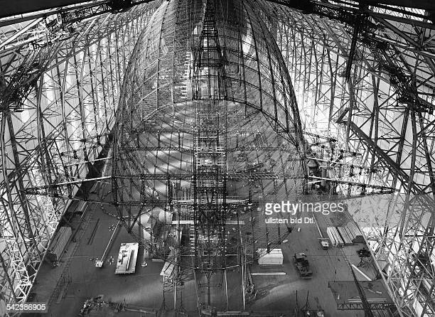 German Empire Wuerttemberg Freistaat Friedrichhafen airship construction Zeppelin LZ 129 'Hindenburg' stern view to the steel cage Published by...