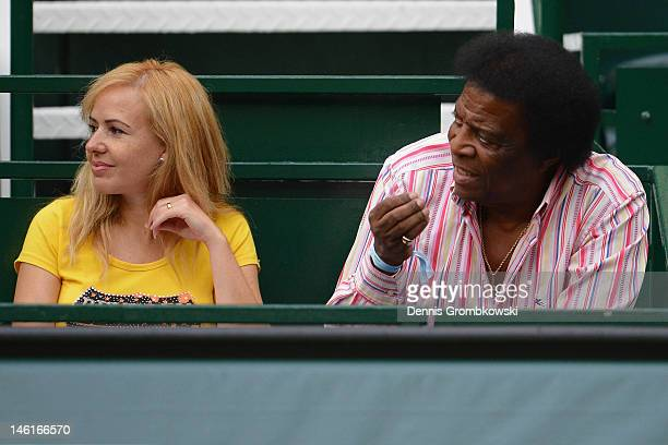 German entertainer Roberto Blanco and his wife Luzandra Strassburg attend the first round match between Philipp Kohlschreiber and Dustin Brown of...