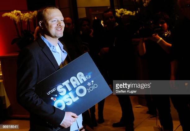 German entertainer Stefan Raab poses for photographers prior to a press conference on January 21 2010 in Berlin Germany Starting February 2nd Raab...