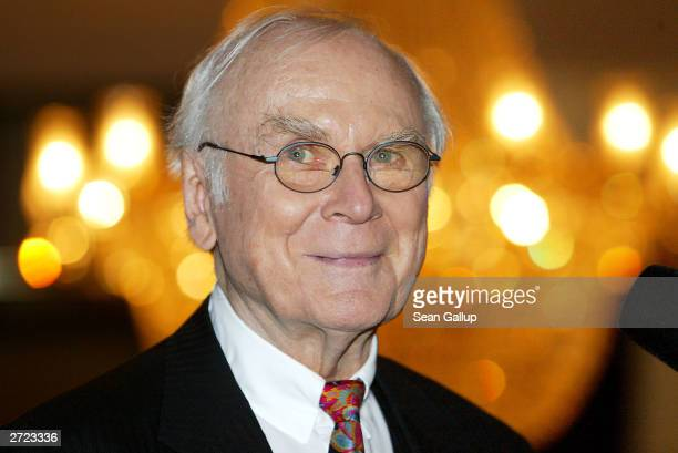 German entertainer Vicco von Buelow better known by his stagename Loriot smiles during a celebration of his 80th birthday November 12 2003 at the...