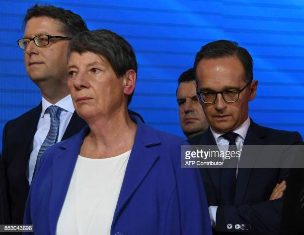 German Environment Minister Barbara Hendricks and German Justice Minister Heiko Maas listen to SPD chairman and candidate for Chancellor Martin...
