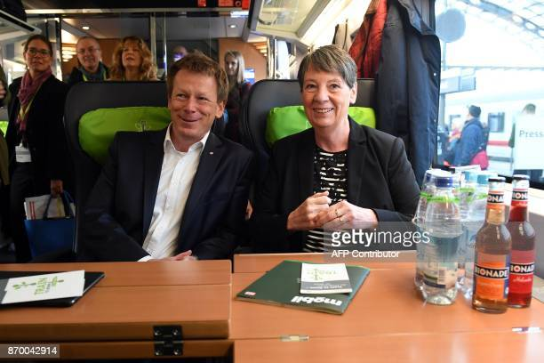 German Environment Minister Barbara Hendricks and Richard Lutz chairman of German railway operator Deutsche Bahn pose in a special ICE high speed...