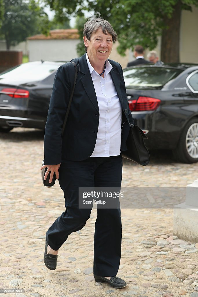 German Environment Minister <a gi-track='captionPersonalityLinkClicked' href=/galleries/search?phrase=Barbara+Hendricks+-+Politician&family=editorial&specificpeople=12187045 ng-click='$event.stopPropagation()'>Barbara Hendricks</a> arrives for a meeting of the government cabinet at Schloss Meseberg palace on May 24, 2016 near Gransee, Germany. The government cabinet is meeting at Schloss Meseberg for a two-day retreat.