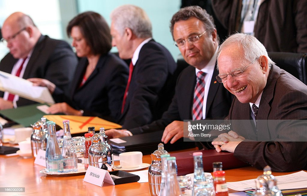 German Environment Minister Peter Altmaier, German Agriculture and Consumer Protection Minister <a gi-track='captionPersonalityLinkClicked' href=/galleries/search?phrase=Ilse+Aigner&family=editorial&specificpeople=2158567 ng-click='$event.stopPropagation()'>Ilse Aigner</a>, German Transport Minister <a gi-track='captionPersonalityLinkClicked' href=/galleries/search?phrase=Peter+Ramsauer&family=editorial&specificpeople=770626 ng-click='$event.stopPropagation()'>Peter Ramsauer</a>, German Interior Minister <a gi-track='captionPersonalityLinkClicked' href=/galleries/search?phrase=Hans-Peter+Friedrich&family=editorial&specificpeople=7528072 ng-click='$event.stopPropagation()'>Hans-Peter Friedrich</a>, and German Finance Minister Wolfgang Schaeuble arrive for the weekly German federal cabinet meeting on April 10, 2013 in Berlin, Germany. High on the morning's agenda was discussion of the federal government's report on the current status of freelance professions in the country, as well as of health insurance policy and legislation on natural medicine.