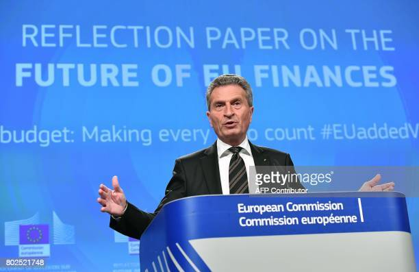 German EU Commissioner for budget and human resources Gunther Oettinger addresses a press conference on future of the EU Budget at the European...