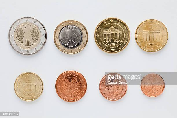 German euro coins arranged in numerical order, rear view