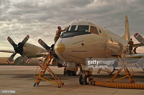 German European Naval Force antipiracy reconaissance plane part of operation ATALANTA at the French military base in Djibouti on May 5 2015 Piracy...
