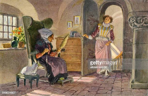 'Sleeping Beauty' Illustration P Hey collector cards 'Deutsche Maerchen' 1930ies