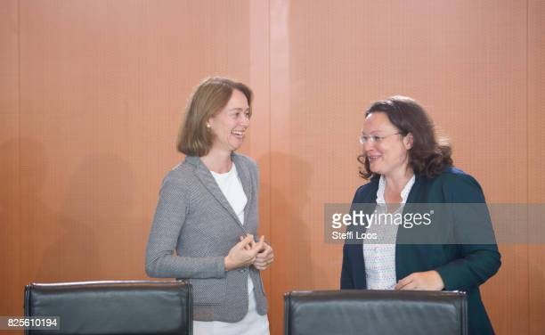 German Family Minister Katarina Barley and German Labour and Social Minister Andrea Nahles attend the weekly government cabinet meeting on August 2...