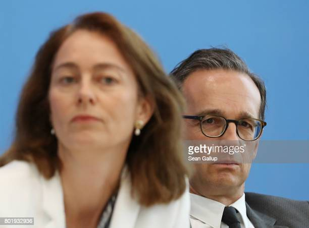 German Family Minister Katarina Barley and Justice Minister Heiko Maas both members of the German Social Democrats attend a SPD press conference on...