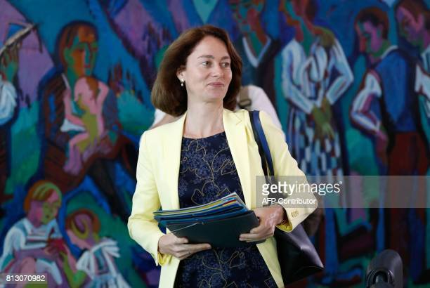 German Family Minister Katarina Barley arrives for the weekly cabinet meeting on July 12 2017 at the Chancellery in Berlin / AFP PHOTO / Odd ANDERSEN