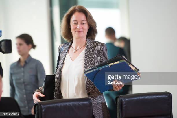 German Family Minister Katarina Barley arrives for the weekly cabinet meeting on October 18 2017 in Berlin Germany Today political parties begin...