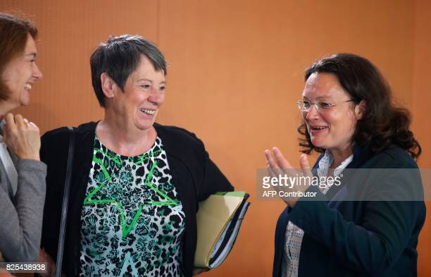 German Family Minister Katarina Barley German Environment Minister Barbara Hendricks and German Labour and Social Minister Andrea Nahles talk prior...
