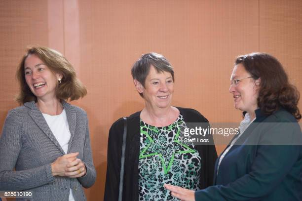 German Family Minister Katarina Barley German Environment Minister Barbara Hendricks and German Labour and Social Minister Andrea Nahles attend the...