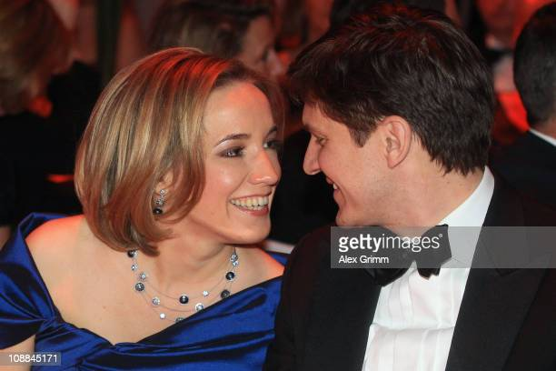 German Family Minister Kristina Schroeder and her husband Ole Schroeder sit togehter during the 20011 Sports Gala 'Ball des Sports' at the RheinMain...