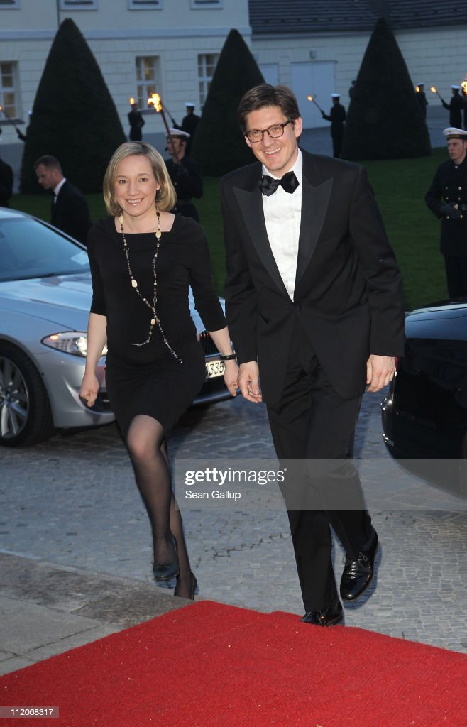German Family Minister Kristina Schroeder and husband Ole Schroeder arrive to a state banquet given in the honour of Queen Beatrix, Prince Willem-Alexander and Princess Maxima of the Netherlands at Bellevue Presidential Palace on April 12, 2011 in Berlin, Germany. The Dutch royals are on a four day visit to Germany that includes stops in Berlin, Dresden and Duesseldorf.