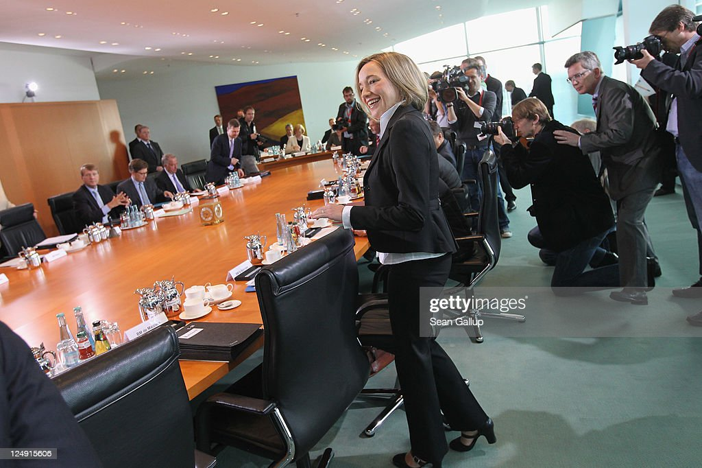 German Family Minister Kristina Schroeder arrives for the first weekly German government cabinet meeting since she gave birth to her baby girl Lotte Marie ten weeks ago on September 14, 2011 in Berlin, Germany. Schroeder is the first German government minister to give birth to a child during her term in office.