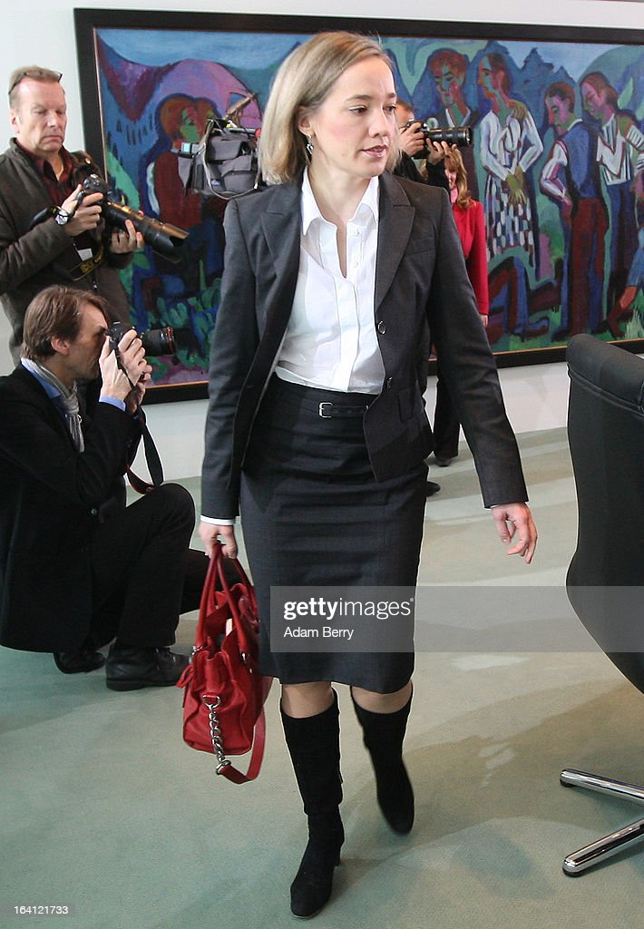 German Family Minister Kristina Schroeder arrives for the German federal Cabinet meeting on March 20, 2013 in Berlin, Germany. High on the morning's agenda was discussion of proposed laws pertaining to preventative health measures as well as the proposed ban on the right-wing National Democratic Party (Nationaldemokratische Partei Deutschlands, or NPD), which, contrary to a joint bid by Germany's 16 states, the federal government has not supported.