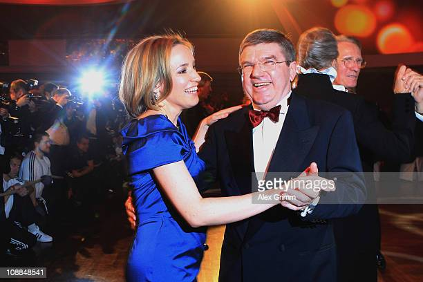 German Family Minister Kristina Schroeder dances with Thomas Bach head of DOSB during the 2011 Sports Gala 'Ball des Sports' at the RheinMain Hall on...
