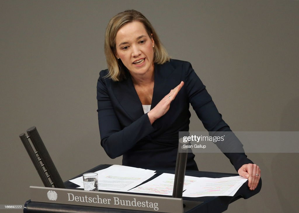 German Family Minister Kristina Schroeder speaks during debates in the Bundestag over quotas for women in management positions at German corporations on April 18, 2013 in Berlin, Germany. Opposition parties are pushing for staggered quotas in German management positions over coming years.