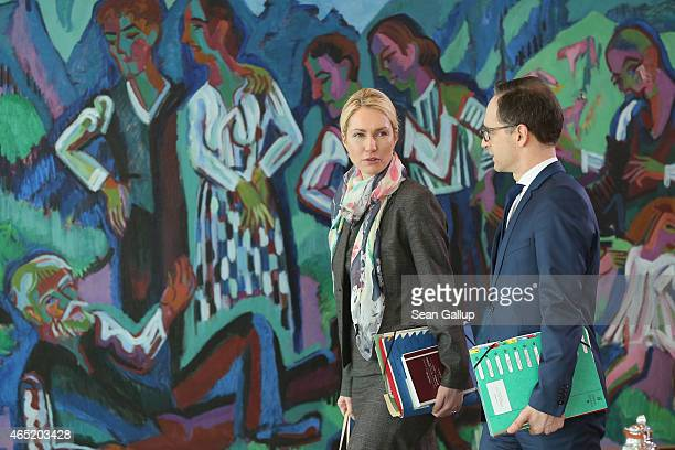 German Family Minister Manuela Schwesig and Justice Minister Heiko Maas arrive at the weekly German government cabinet meeting on March 4 2015 in...