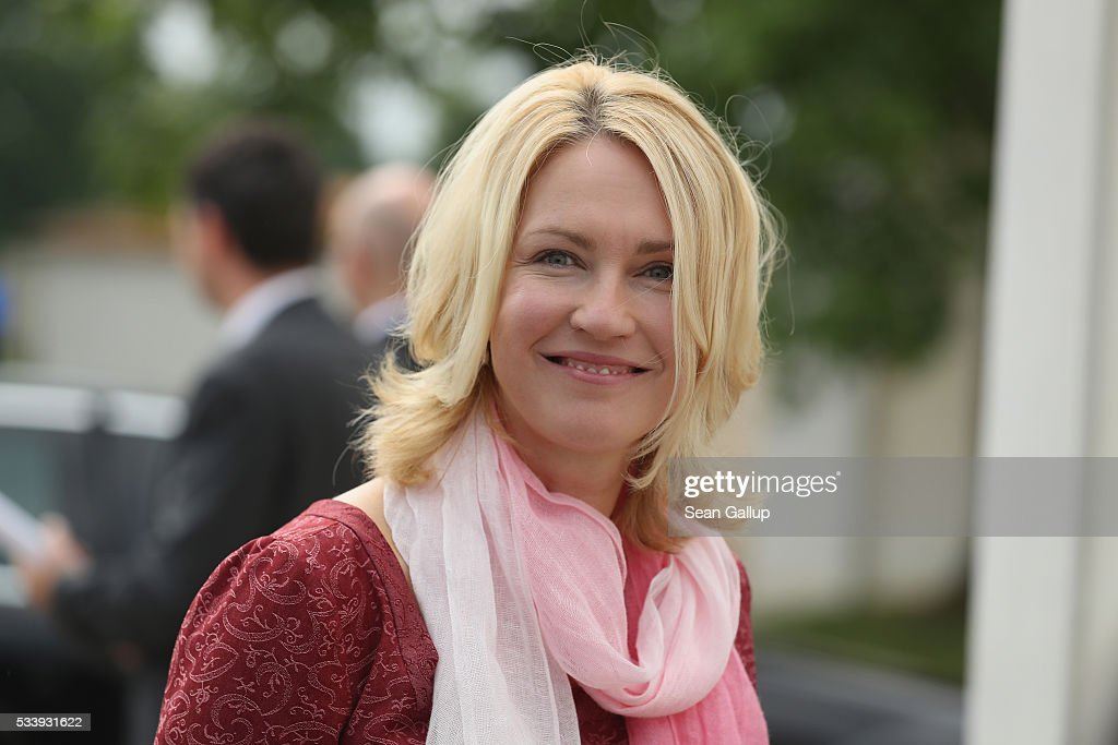German Family Minister <a gi-track='captionPersonalityLinkClicked' href=/galleries/search?phrase=Manuela+Schwesig&family=editorial&specificpeople=6048691 ng-click='$event.stopPropagation()'>Manuela Schwesig</a> arrives for a meeting of the government cabinet at Schloss Meseberg palace on May 24, 2016 near Gransee, Germany. The government cabinet is meeting at Schloss Meseberg for a two-day retreat.
