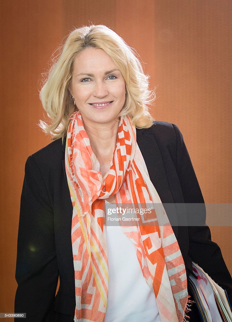 German Family Minister <a gi-track='captionPersonalityLinkClicked' href=/galleries/search?phrase=Manuela+Schwesig&family=editorial&specificpeople=6048691 ng-click='$event.stopPropagation()'>Manuela Schwesig</a> arrives for the weekly cabinet meeting at the chancellery (Bundeskanzleramt) on June 28, 2016 in Berlin, Germany.