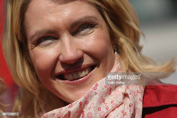 German Family Minister Manuela Schwesig attends a rally for equal pay for women compared to men on Equal Pay Day on March 20 2015 in Berlin Germany...