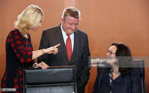 German Family Minister Manuela Schwesig German Health Minister Hermann Groehe and German Minister of Work and Social Issues Andrea Nahles arrive for...