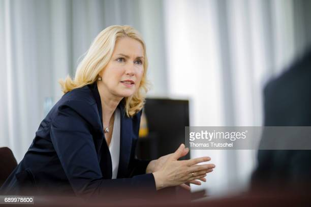 German Family Minister Manuela Schwesig gestures during an interview on May 24 2017 in Berlin Germany