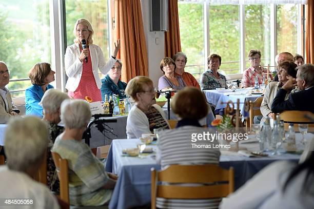 German Family Minister Manuela Schwesig speaks during here visit of the St Martin senior care facility on August 19 2015 in Bingen am Rhein Germany...