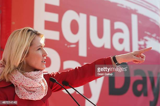 German Family Minister Manuela Schwesig speaks to men and women rallying for equal pay for women compared to men on Equal Pay Day on March 20 2015 in...